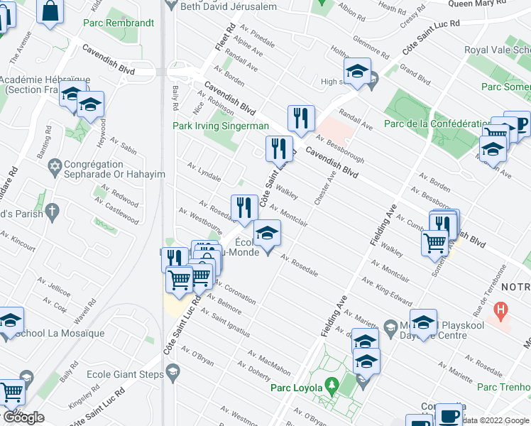 map of restaurants, bars, coffee shops, grocery stores, and more near 6710 Chemin de la Côte-Saint-Luc in Montréal