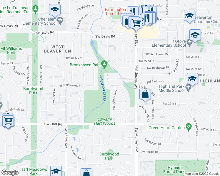 map of restaurants, bars, coffee shops, grocery stores, and more near 6977 Southwest Tierra Del Mar Drive in Beaverton