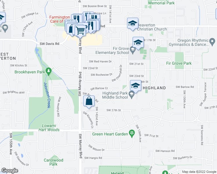 map of restaurants, bars, coffee shops, grocery stores, and more near 14095 Southwest Barlow Court in Beaverton