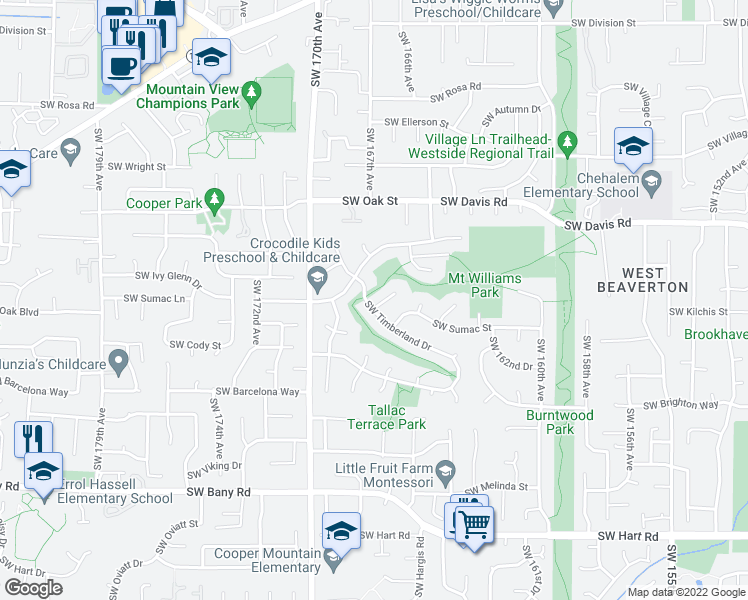 map of restaurants, bars, coffee shops, grocery stores, and more near 16745 Southwest Heceta Court in Beaverton