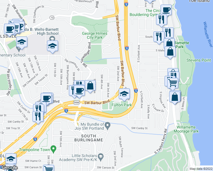 map of restaurants, bars, coffee shops, grocery stores, and more near 7125 Southwest 3rd Avenue in Portland