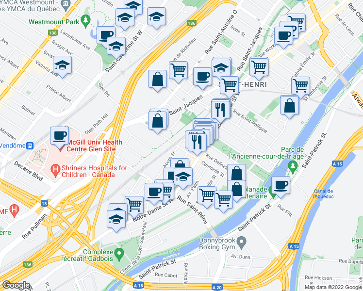 map of restaurants, bars, coffee shops, grocery stores, and more near 587 Rue de Courcelle in Montréal