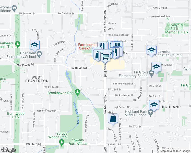 map of restaurants, bars, coffee shops, grocery stores, and more near 6380 Southwest Cape Meares Court in Beaverton