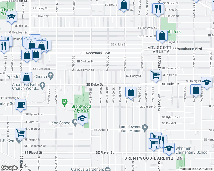 map of restaurants, bars, coffee shops, grocery stores, and more near Southeast 64th Avenue in Portland