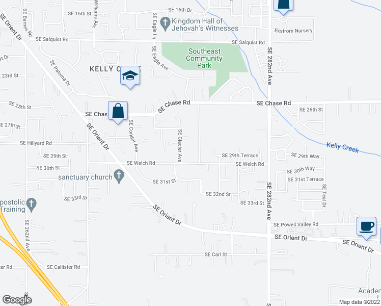map of restaurants, bars, coffee shops, grocery stores, and more near 5301 Southeast Welch Road in Gresham
