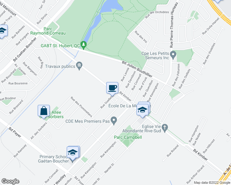 map of restaurants, bars, coffee shops, grocery stores, and more near 4095 Rue Ouellette in Longueuil