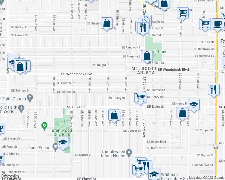 map of restaurants, bars, coffee shops, grocery stores, and more near 6723 Southeast Tolman Street in Portland