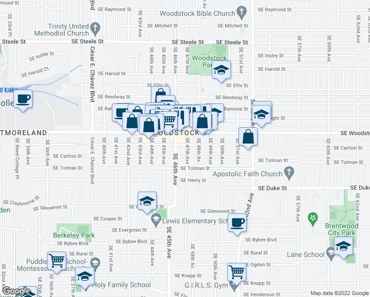 map of restaurants, bars, coffee shops, grocery stores, and more near Southeast 47th Avenue in Portland