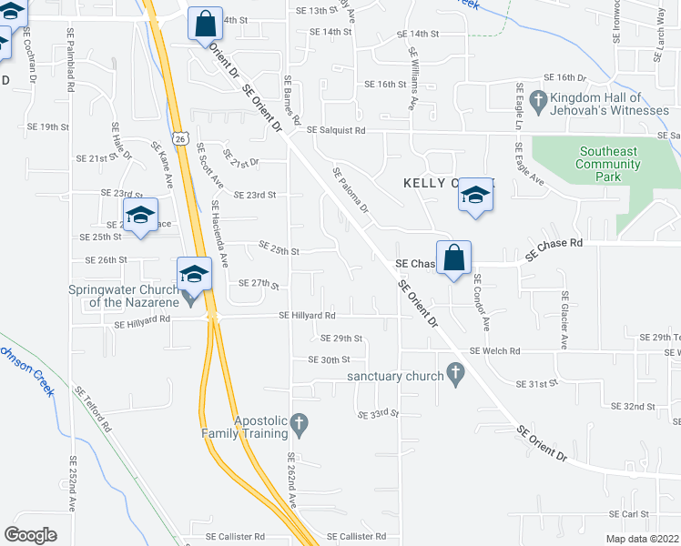 map of restaurants, bars, coffee shops, grocery stores, and more near 2631 Southeast Wendy Drive in Gresham