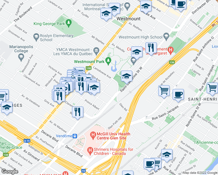 map of restaurants, bars, coffee shops, grocery stores, and more near 4820 Boulevard de Maisonneuve Ouest in Westmount