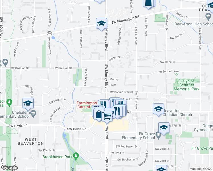 map of restaurants, bars, coffee shops, grocery stores, and more near 14420-14498 Southwest Bonnie Brae Street in Beaverton