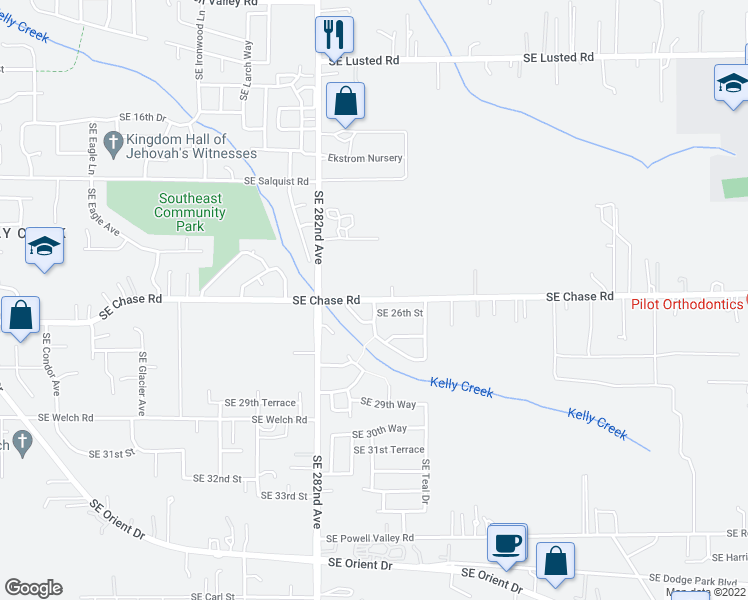 map of restaurants, bars, coffee shops, grocery stores, and more near 2533 Southeast Rosefinch Drive in Gresham