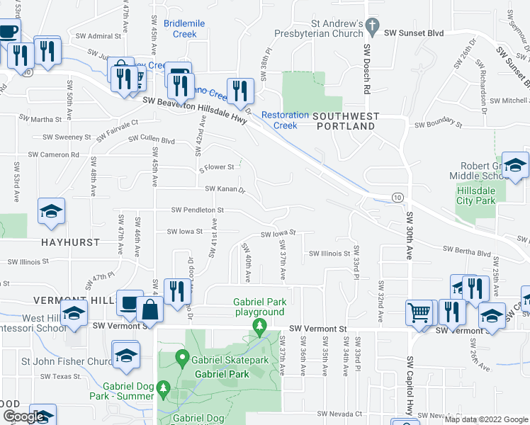 map of restaurants, bars, coffee shops, grocery stores, and more near 3842 Southwest Kanan Drive in Portland