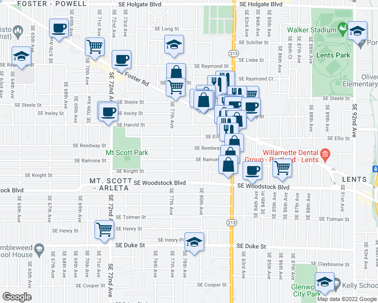 map of restaurants, bars, coffee shops, grocery stores, and more near 7830 Southeast Reedway Street in Portland
