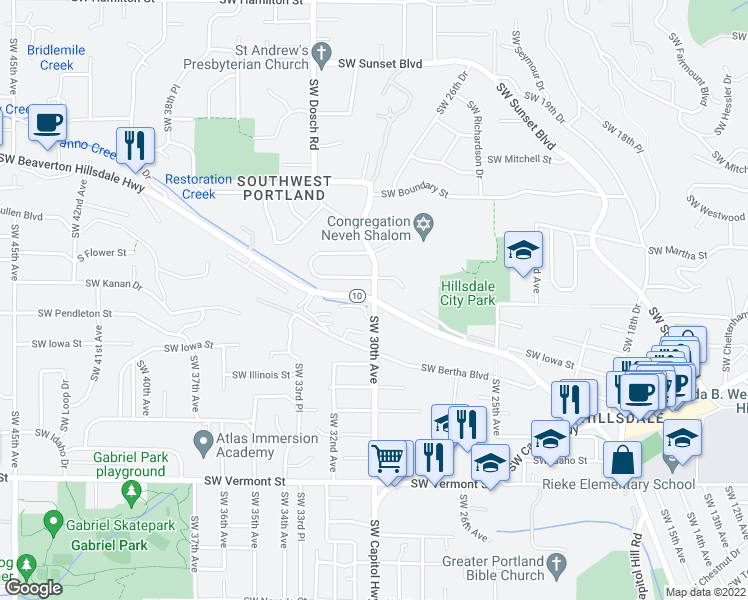 map of restaurants, bars, coffee shops, grocery stores, and more near OR-10 & SW 30th Ave in Portland