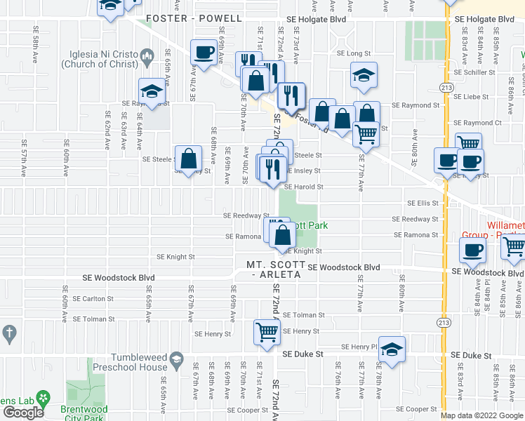 map of restaurants, bars, coffee shops, grocery stores, and more near 5624 Southeast 71st Avenue in Portland