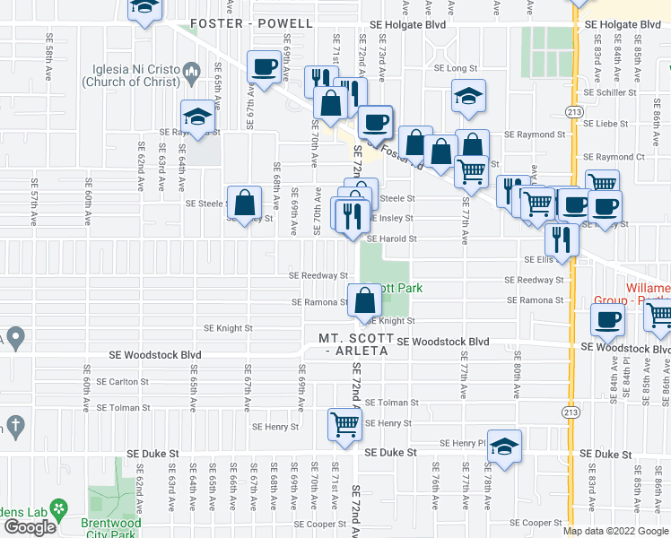 map of restaurants, bars, coffee shops, grocery stores, and more near 5624 SE 71st Ave in Portland