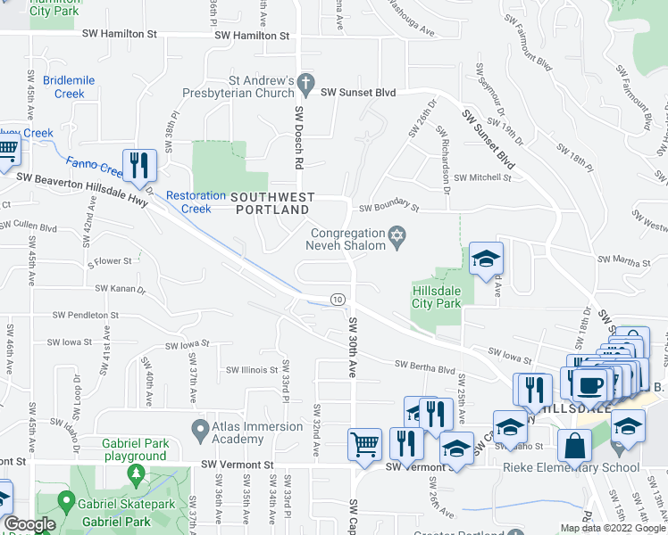 map of restaurants, bars, coffee shops, grocery stores, and more near 3006 Southwest Flower Terrace in Portland