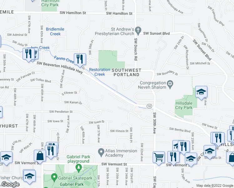 map of restaurants, bars, coffee shops, grocery stores, and more near 3541 SW Beaverton-Hillsdale Hwy in Portland