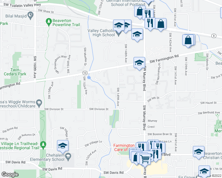 map of restaurants, bars, coffee shops, grocery stores, and more near 14983 Southwest Tracy Ann Court in Beaverton