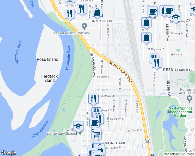 map of restaurants, bars, coffee shops, grocery stores, and more near 1616 Southeast Insley Street in Portland