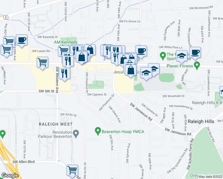 map of restaurants, bars, coffee shops, grocery stores, and more near 4975 Southwest Jamieson Road in Beaverton