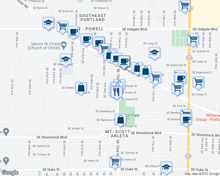 map of restaurants, bars, coffee shops, grocery stores, and more near 7030 Southeast Steele Street in Portland