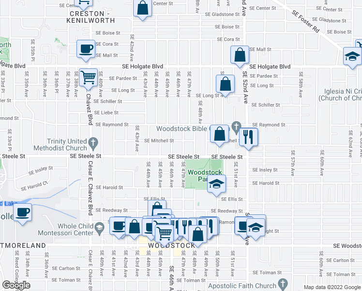 map of restaurants, bars, coffee shops, grocery stores, and more near 5219 Southeast 47th Avenue in Portland
