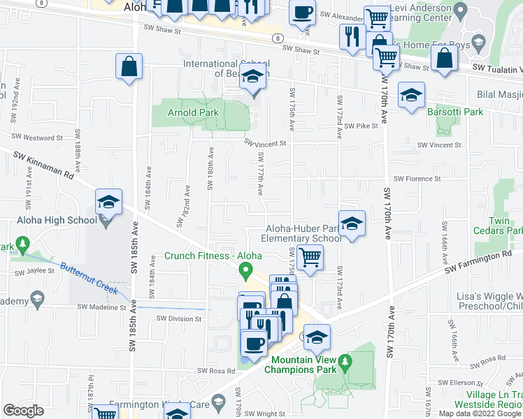 map of restaurants, bars, coffee shops, grocery stores, and more near 17694 Southwest Yeager Lane in Beaverton
