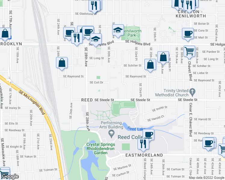 map of restaurants, bars, coffee shops, grocery stores, and more near 5104 Southeast 30th Avenue in Portland