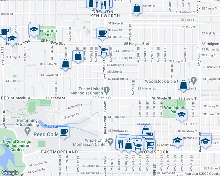 map of restaurants, bars, coffee shops, grocery stores, and more near 5123 Southeast 40th Avenue in Portland