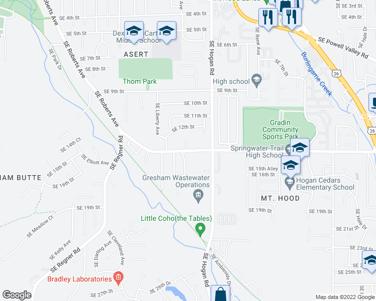 map of restaurants, bars, coffee shops, grocery stores, and more near 1519 Southeast Roberts Drive in Gresham