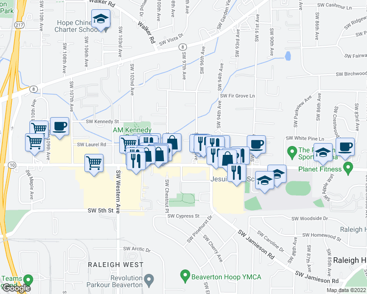 map of restaurants, bars, coffee shops, grocery stores, and more near 4495 Southwest 96th Avenue in Beaverton