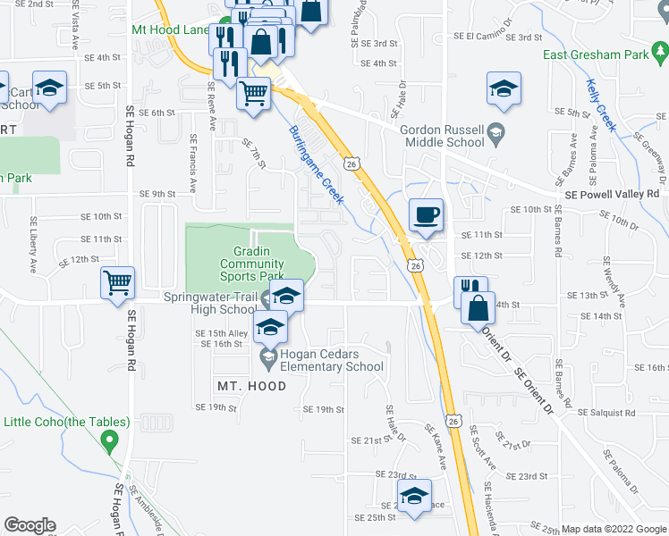 map of restaurants, bars, coffee shops, grocery stores, and more near 2831 Southeast Palmquist Road in Gresham