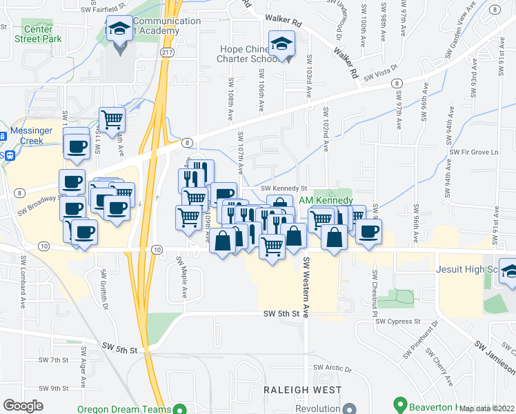 map of restaurants, bars, coffee shops, grocery stores, and more near 4370 Southwest 107th Avenue in Beaverton