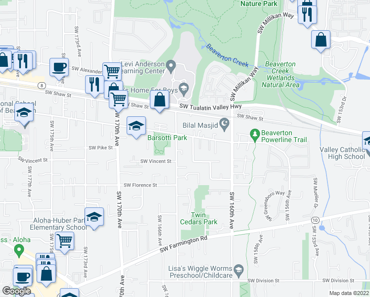 map of restaurants, bars, coffee shops, grocery stores, and more near 4255 Southwest 164th Avenue in Beaverton