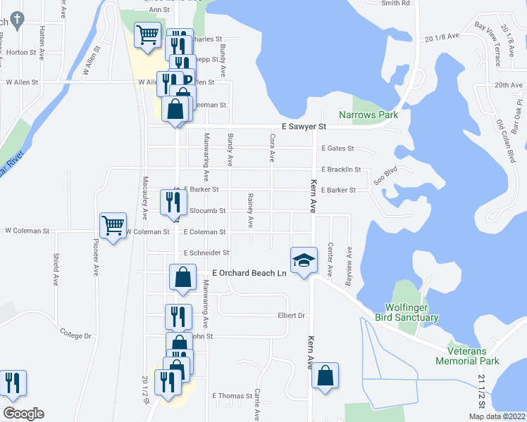 map of restaurants, bars, coffee shops, grocery stores, and more near East Slocumb Street in Rice Lake