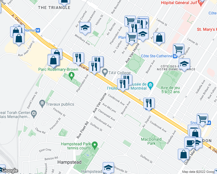 map of restaurants, bars, coffee shops, grocery stores, and more near 5305 Avenue Van Horne in Montréal