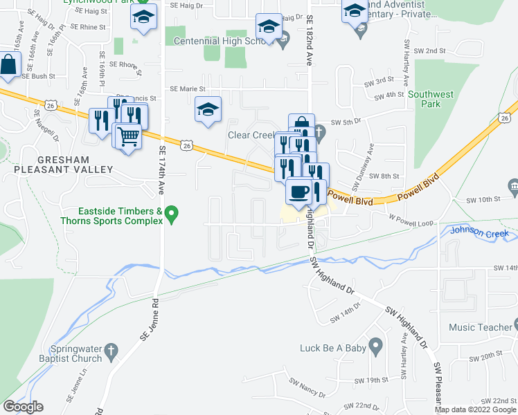 map of restaurants, bars, coffee shops, grocery stores, and more near 4777 Southwest 11th Street in Gresham
