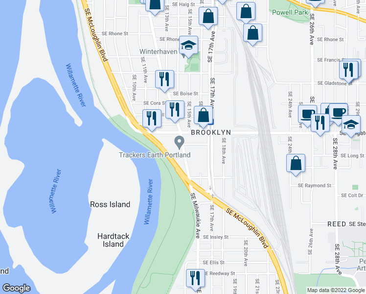map of restaurants, bars, coffee shops, grocery stores, and more near None in Portland