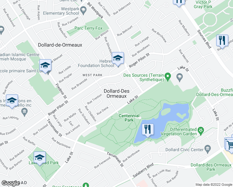 map of restaurants, bars, coffee shops, grocery stores, and more near in Dollard-Des Ormeaux