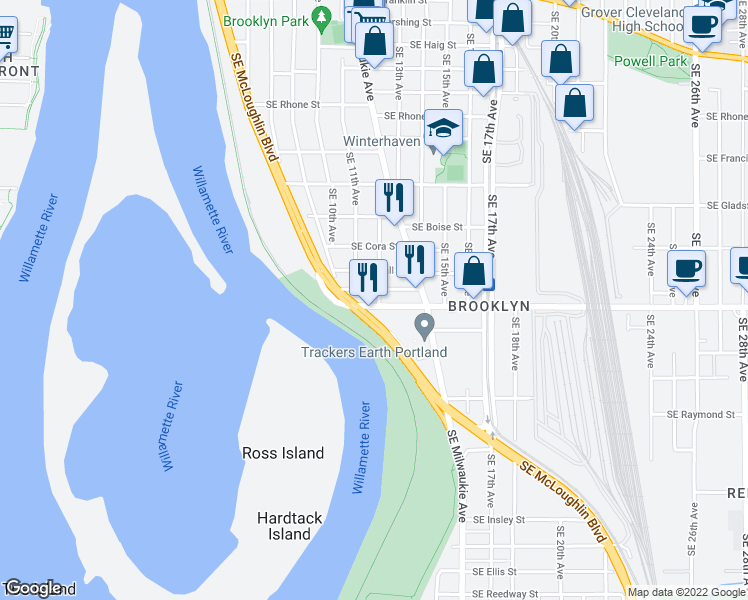 map of restaurants, bars, coffee shops, grocery stores, and more near 4475 Southeast 12th Avenue in Portland