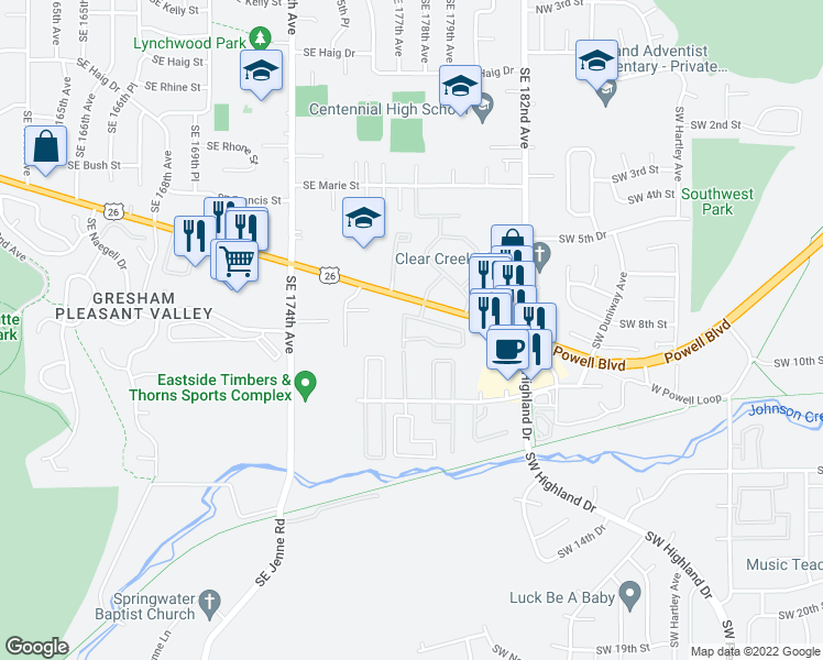 map of restaurants, bars, coffee shops, grocery stores, and more near 4784 West Powell Boulevard in Gresham