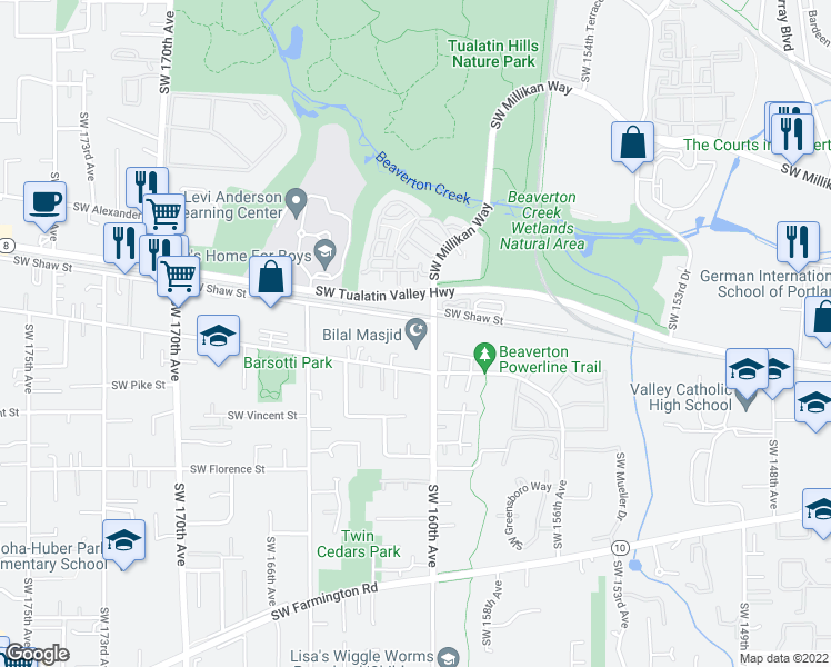 map of restaurants, bars, coffee shops, grocery stores, and more near 4085 Southwest 160th Avenue in Beaverton