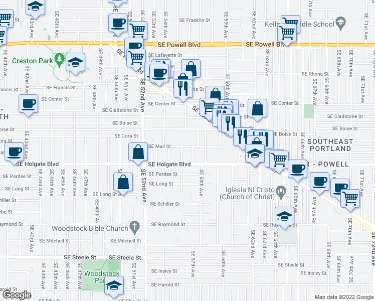 map of restaurants, bars, coffee shops, grocery stores, and more near 5616 Southeast Mall Street in Portland