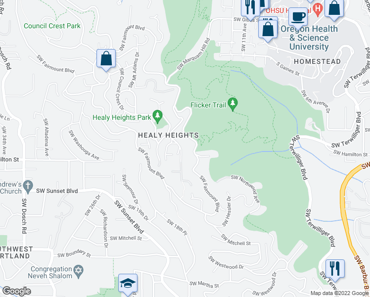 map of restaurants, bars, coffee shops, grocery stores, and more near 4412 Southwest Council Crest Drive in Portland