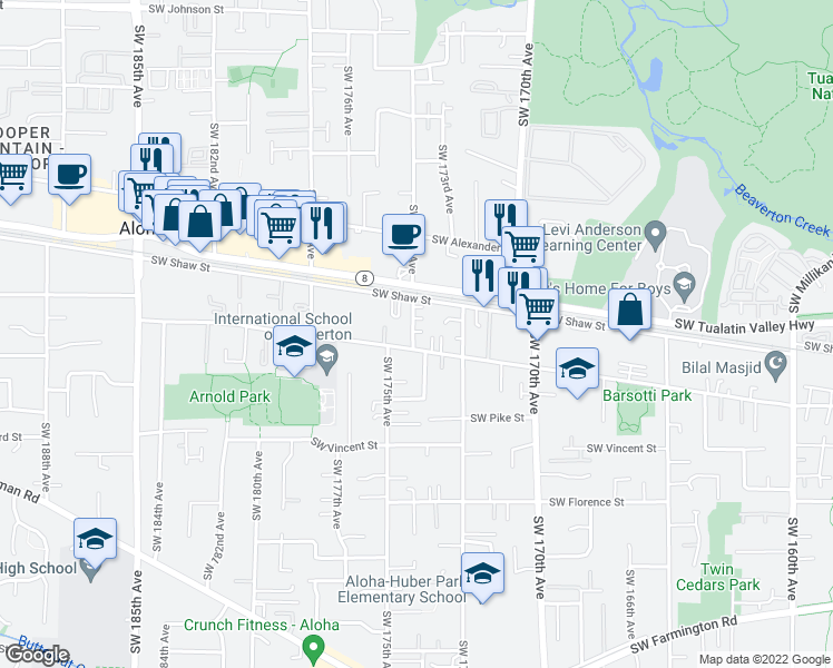 map of restaurants, bars, coffee shops, grocery stores, and more near 17361 Southwest Carson Court in Beaverton