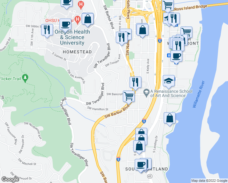 map of restaurants, bars, coffee shops, grocery stores, and more near 115 Southwest Bancroft Street in Portland