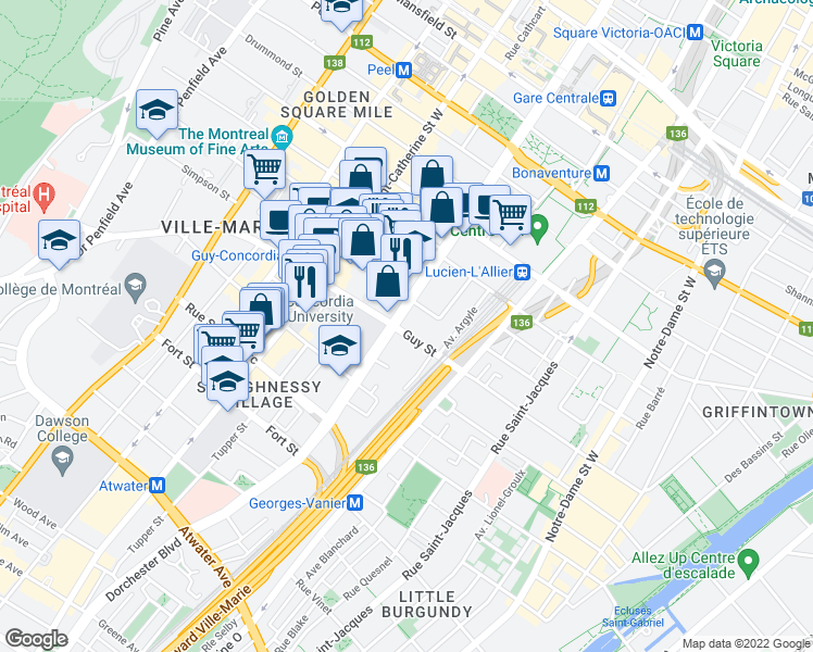 map of restaurants, bars, coffee shops, grocery stores, and more near 1600 Boulevard René-Lévesque Ouest in Montréal