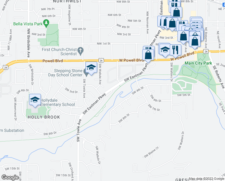 map of restaurants, bars, coffee shops, grocery stores, and more near 308 Southwest Eastman Parkway in Gresham